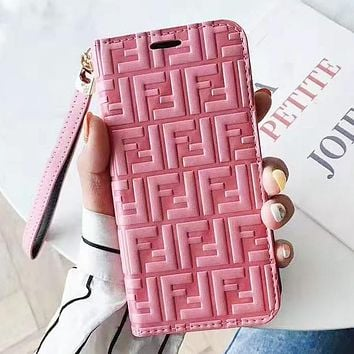 Fendi Fashion New More Letter Leather Women Men Protective Cover Phone Case Pink