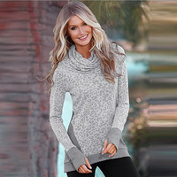 Gray Turtle Neck Leopard Print Shirt B0013681