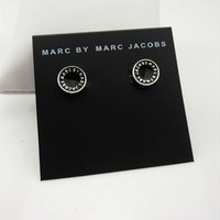 Marc Jacobs Logo Disc black Silvertone Finish