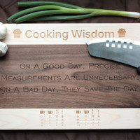 Engraved Cutting Board in Maple and Walnut Wood with Metric Conversion