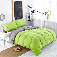 Simple Color Green Gray Striped Bed Sheet Duver Quilt Cover Pillowcase Soft and Comfortable King Queen Full Twin