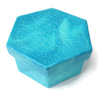 Small Gift Box hexagonal box in aqua and turquoise with a crackle finish, trinket box, nautical decor, decorative keepsake box