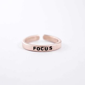 """""""FOCUS"""" Skinny Adjustable Ring - Available in Brass & Copper"""