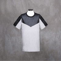 XQUARE 23 Leather Paneled Zip Short Sleeve T Shirt