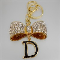 Crystal Exquisite Bow Letter D Keychain