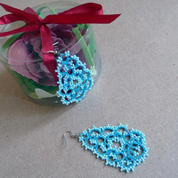 Tatting lace earrings blue-gift for her-wedding- something blue- blue earrings- gift for mom-OOAK - vintage style-dangle earrings-victorian