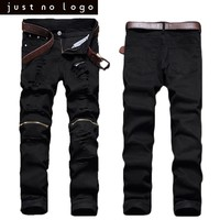 Mens Black Jeans Knees Zipper Biker Denim Slim Fit Jeans Torned Skinny Straight Hip Hop Pants Long Summer Ripped Trousers