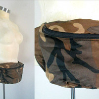Brown Camo Fanny Pack // Camouflage Adjustable Waist Pouch