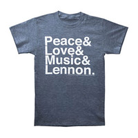 Beatles Men's  Peace Love Music Slim Fit T-shirt Grey Rockabilia