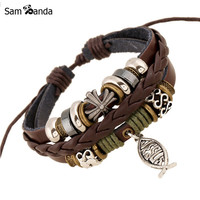 New Leather Bracelet Hot Jewelry Fashion Multilayer Cute Charm Wrap Bracelet For Women Men Jesus Cross Fish Pattern YK5026