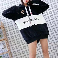 DCCK6HW Balenciaga' Women Casual Loose Fashion Velvet Multicolor Letter Long Sleeve Pullover Hooded Sweater Tops