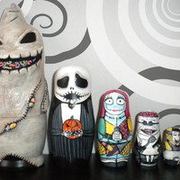 Nightmare Before Christmas Nesting Doll. Custom Painted and Partial Sculpting.