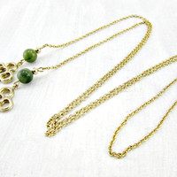 Vintage Sautoir Lariat Necklace, Long Gold Chain Necklace, Gold Flower Charms, Faux Jade Beads, 1960s Vintage Costume Jewelry, Gift for Her