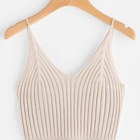 Rib Knit Crop Cami Top -SheIn(Sheinside)