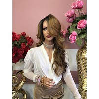 """Blonde Brown Balayage Curly Lace Front Wig 8"""" 0219 5"""