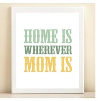 'Home is Wherever Mom Is' print poster