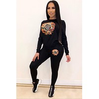Versace women fashion embroidered Sequin Top + pants two piece suit