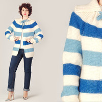 70s Striped Long Sweater Jacket / Blue & Ivory Hand Knitted Knit Jacket / Handmade Big Collar Wool Medium M Cardigan