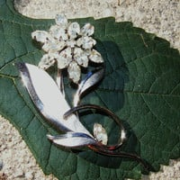 Clear Rhinestone & Sterling Silver Floral Brooch Marked ART