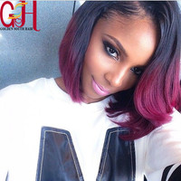 Amazing Color Ombre Bob Lace Wig 1b/Purple Glueless Full Lace Wigs Short Bob Ombre Lace Front Human Hair Wig for Sale