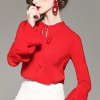 Red Blouse W/ Layered Sleeve