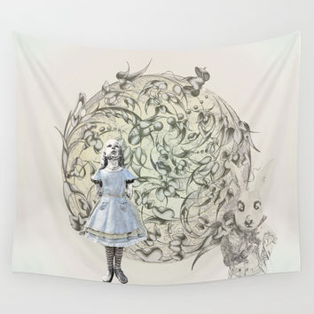 Alice,White Rabbit and a Wonderland Wall Tapestry by anipani
