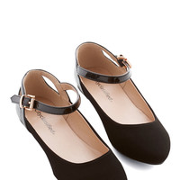 RESERVED V: Ready to Impress Flat in Black | Mod Retro Vintage Flats | ModCloth.com