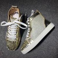 Christian Louboutin CL Lou Spikes Style #2177 Sneakers Fashion Shoes Best Deal Online