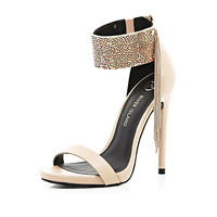 River Island Womens Nude metal cuff barely there sandals