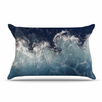 "Suzanne Carter ""Sea Spray"" Navy Ocean Pillow Sham"