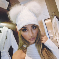 Winter Beanie Hat with Faux Fur