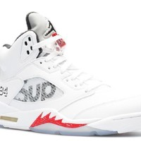 Ready Stock Nike Air Jordan 5 Retro Supreme Supreme White Basketball Sport Shoes