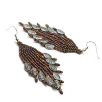 Boho Chic Falling Leaves Beaded Earrings