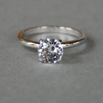 Vintage Uncas Ring Silver Tone Faux Diamond Solitaire Engagement Ring Promise Ring Various Sizes 1960's // Vintage Designer Costume Jewelry