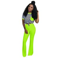 New O-Neck Knitted 2 Piece Outfits For Women Short Sleeve Striped Pockets Two Piece Set Top+Wide Leg Pants Neon Groen Nightclub
