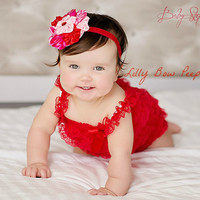 Valentine's Day Outfit-Red Lace Petti Romper-Baby Girl-Newborn-Infant-Child-Toddler-Dress Up-Birthday Outfit-Holiday clothes-Vintage-Pretty