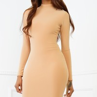 Esra Bodycon Midi Dress - Camel