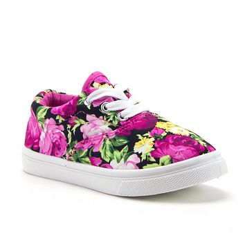Girls Cay-04 Pretty Floral Print Canvas Fashion Sneakers Shoes