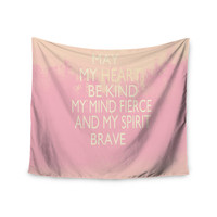 """Suzanne Carter """"Kind-pink"""" White Typography Wall Tapestry"""