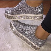 New style colorful sequin single shoes women lace casual sports shoes women shoes