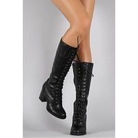 Soda Combat Lace Up Heeled Knee High Boots