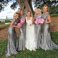 Shinny Slivery Bridesmaid Dresses Sequined Short Sleeves Mermaid Gold Bridesmaid Dress Plus Size Wedding Party Bridesmaid Gowns