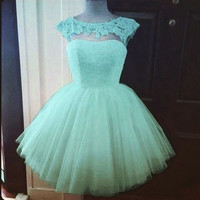 Green Lace Capped Sleeves Chiffon Homecoming Dress,Short Prom Dress