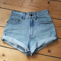 """ALL SIZES """"TURN"""" Vintage high-waisted denim shorts blue cuffed rolled turn up jeans"""