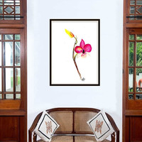 Orchid dendrobium watercolor tropical flower painting wall art print poster decor flower decal print floral art poster large & small
