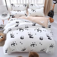 Black and white bedding set Panda bed sheet/bedspread/Duvet cover set Twin Full Queen King size for single double bed
