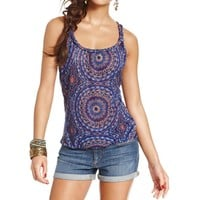 Belle du Jour Womens Juniors Knit Printed Tank Top