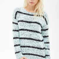 FOREVER 21 Striped Fuzzy Knit Sweater