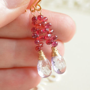 NEW Padparadscha Sapphire Earrings, Pink Amethyst, AAA Real Gemstones, Dark Red Orange Pink, Wire Wrapped, Gold Jewelry, Free Shipping