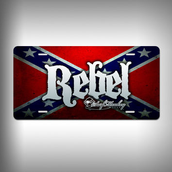 Rebel Custom License Plate / Vanity Plate with Custom Text and Graphics Aluminum